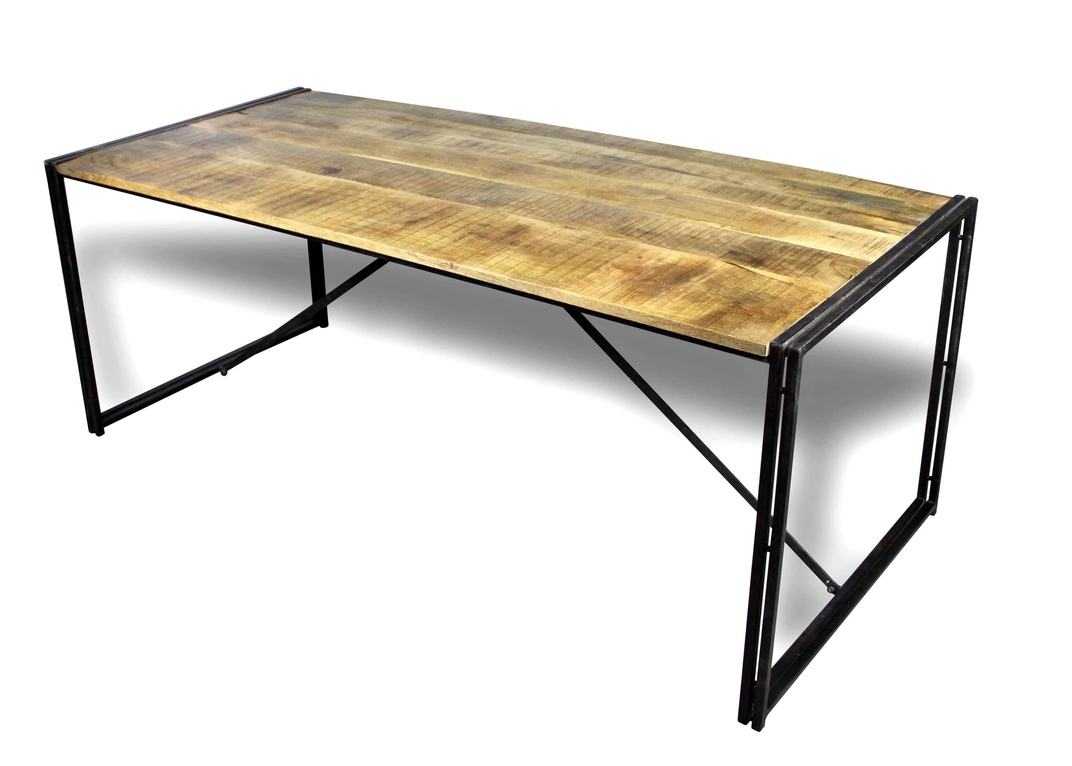 Table De Repas Style Industriel Bois Naturel Patine Et Metal