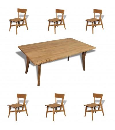 """Esstisch """"Fidji"""" + 6 Stühle """"Pitti"""" aus massivem recyceltem Teakholz"""