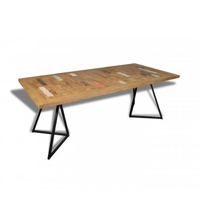 """Table à manger """"Andaman"""" en bois massif de teck recyclé coloré, 210 cm"""