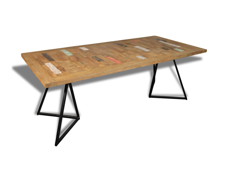 manger de coloré en teck en pieds et recyclé Table massif à bois métal Pk8nw0XO