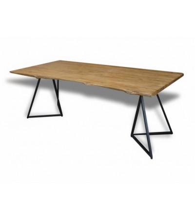 """Table à dîner """"Sumbawa"""" en bois de teck et pieds métal, 210 cm"""