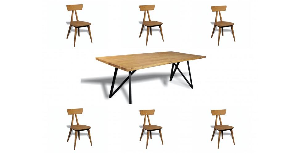 """TABLE À DÎNER """"NICOBAR"""" + 6 CHAISES """"TAO"""" EN BOIS DE TECK RECYCLÉ MASSIF"""