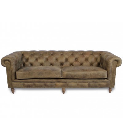 "Canapé Chesterfield ""Clyde"" cuir marron clair ""Whiskey Brown"""