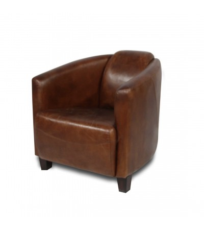 "Fauteuil club cuir vintage marron ""Billy"""
