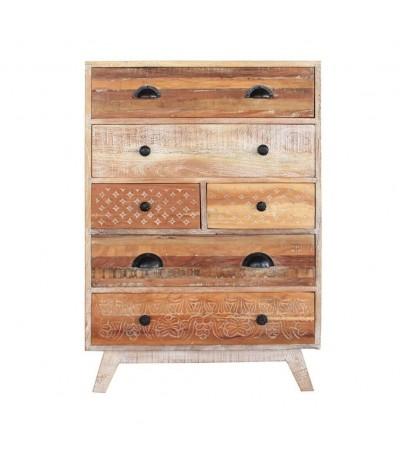 """Commode """"Venice"""" en bois recyclé mielllé style rétro"""
