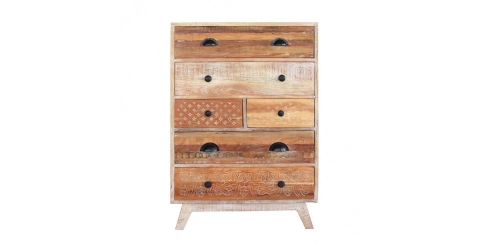 "Kommode ""Venice"" im honigfarbenen Retro-Stil aus recyceltem Holz"