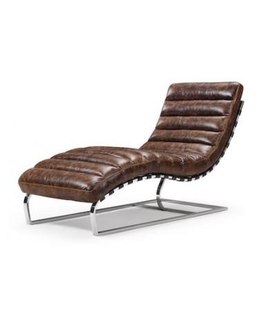 Chaise longue en cuir marron patiné et métal