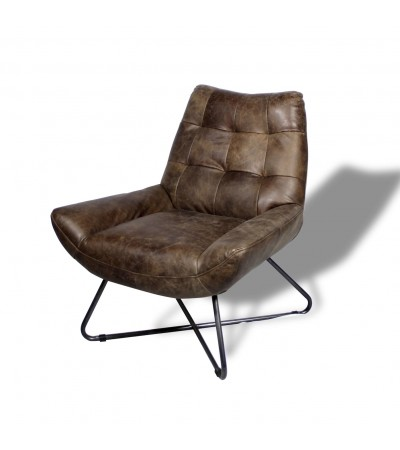 "Fauteuil design ""Eddy"" cuir marron clair ""Whiskey Brown"""