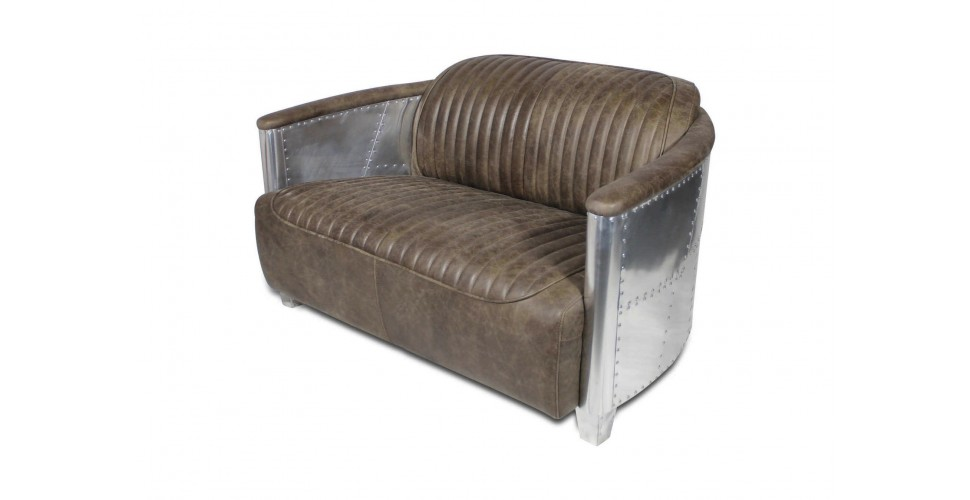 "Sofa Aviator ""Montgomery"" hellbraunes Leder ""Whiskey Brown"""