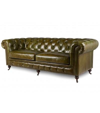 "Canapé Chesterfield ""Lancelot"" Cuir vintage vert"