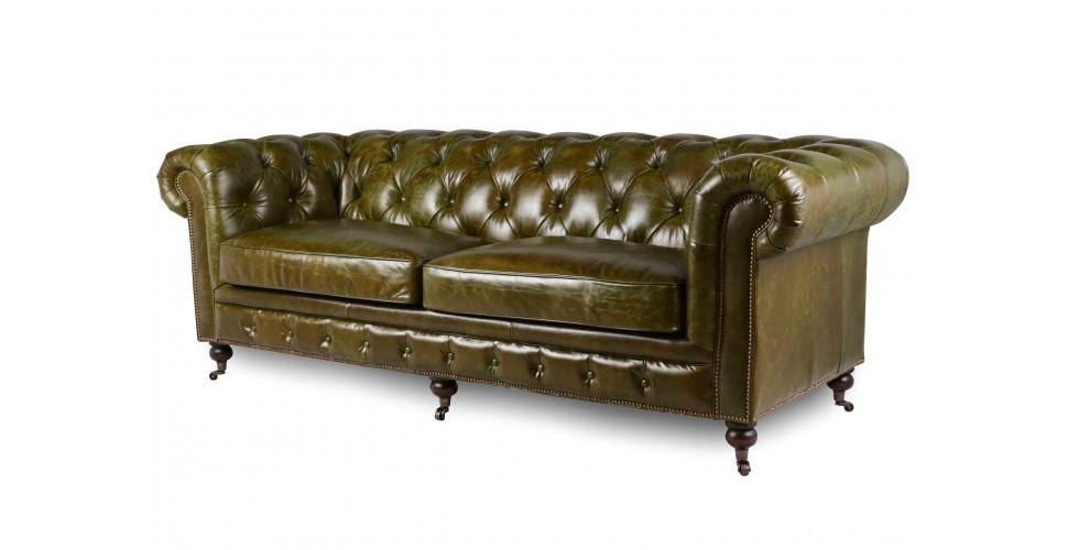 """Vintage Leder Chesterfield Sofa """"Lancelot"""", Farbe grüne"""