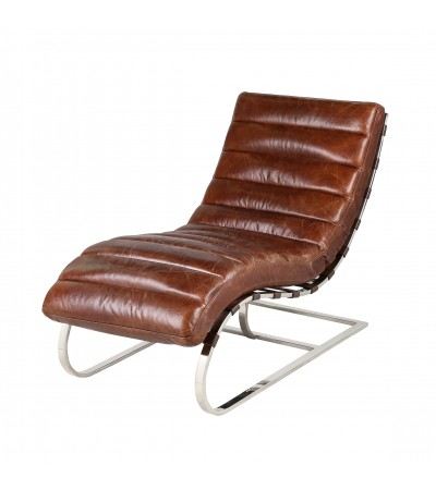 "Fauteuil allongé design ""Lasy"" cuir marron"