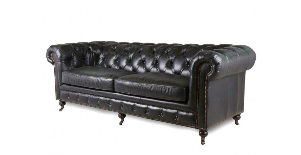 "Chesterfield Sofa ""Lancelot"" patiniert schwarzes Leder"