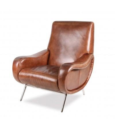 "Fauteuil Club ""Ronald"" en cuir brun style 50's"