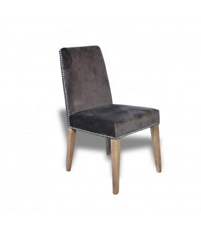 """8 chaises en velours gris """"Percy"""""""