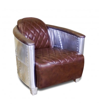 "Fauteuil Aviateur ""Betty"" cuir marron, coutures losanges"