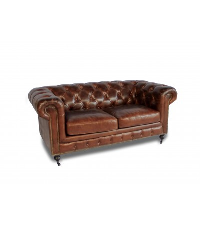 "Canapé Chesterfield Cuir vintage Marron ""Lancelot"" 2 places"