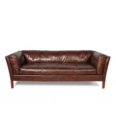 """Canapé cuir vintage brun 2,5 places """"Conrad"""""""