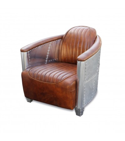 "Fauteuil Aviateur ""Montgomery"" cuir marron Light Brown"
