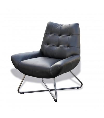 """Design Sessel aus schwarzem Leder """"Eddy"""""""