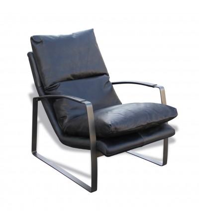 """Fauteuil cuir Vintage noir et métal """"Archie"""""""