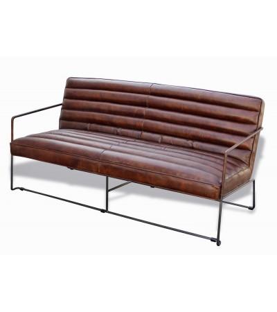 """Canapé en cuir vieilli brun et métal, 3 places """"Griffin"""""""