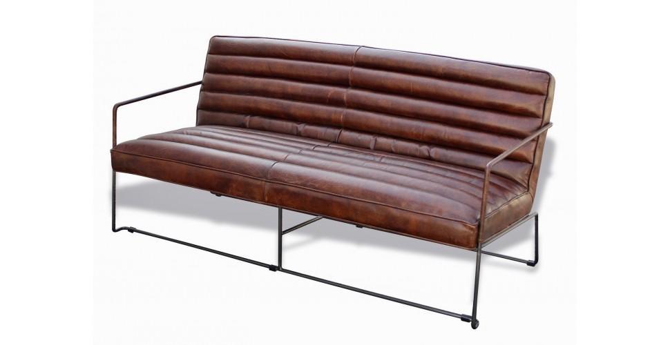 """Sofa aus braunem Leder und Metall, 3 Sitze """"Griffin"""""""