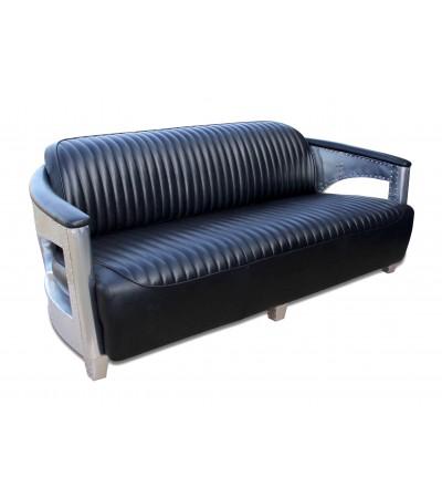 """Aviator Sofa aus schwarzem Leder und Metall """"Byrd"""""""