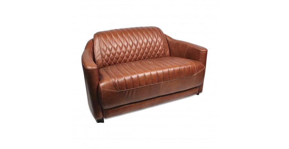 "Canapé club cuir marron Cognac vintage ""Emily"""