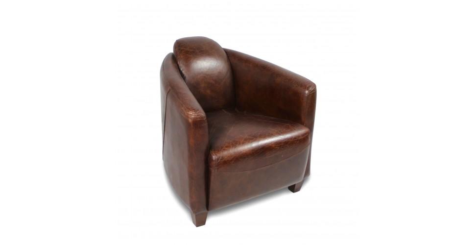 """Fauteuil club cuir vintage marron """"Joe"""""""
