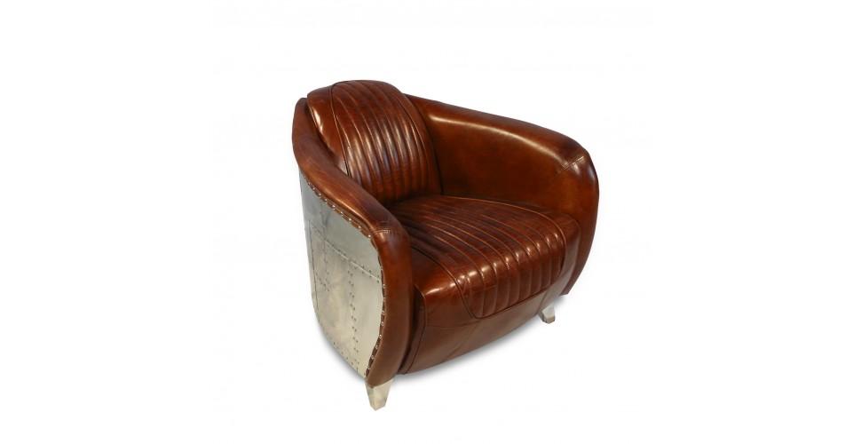 """Flieger-Sessel aus braunem Leder """"Elizabeth"""""""