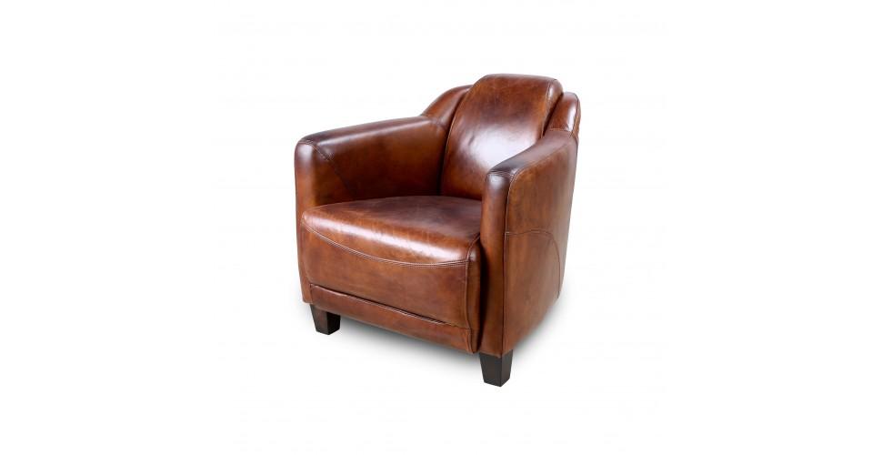 "Fauteuil Club ""Alfred"" Cuir Vintage brun"