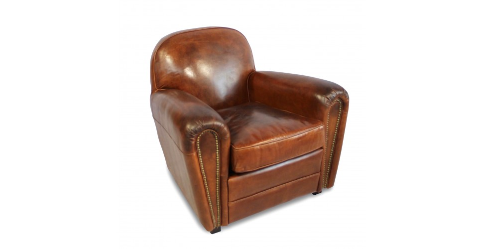 "Fauteuil Club cuir vintage marron ""Charlot"""