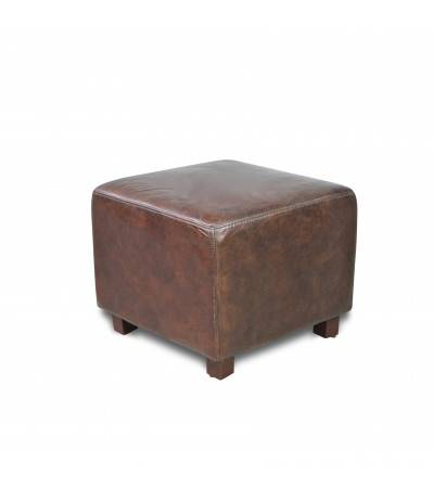 "Pouf ""Holly"" Cuir Marron Vintage"