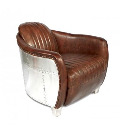 "Aviator Sessel braun Vintage Leder ""Armstrong"""