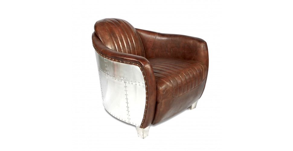 "Fauteuil aviateur cuir vintage marron ""Armstrong"""