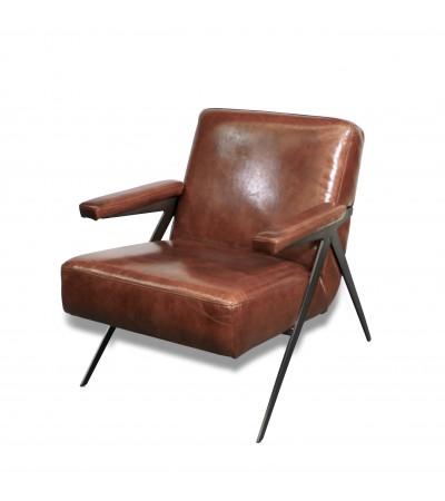 """Fauteuil Club en cuir marron design 50's """"Max"""""""
