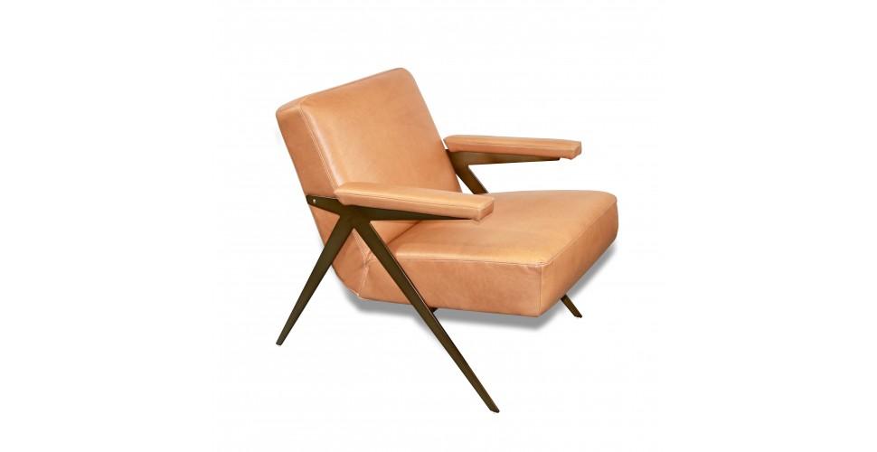 """Fauteuil Club en cuir brun clair style 50's """"Max"""""""