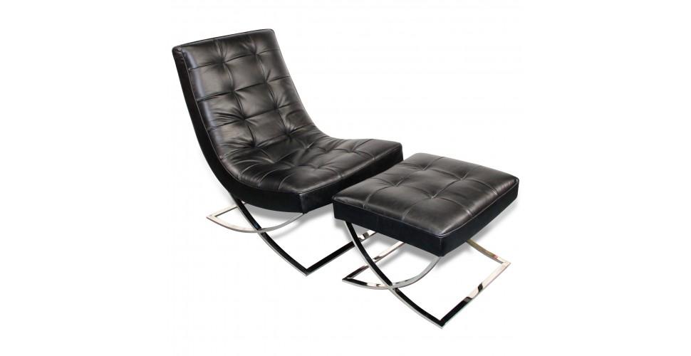 "Fauteuil design en cuir noir style seventies ""Wayne"""