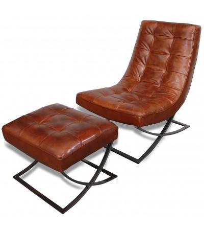 """Fauteuil Club en cuir marron style 70's """"Wayne"""""""