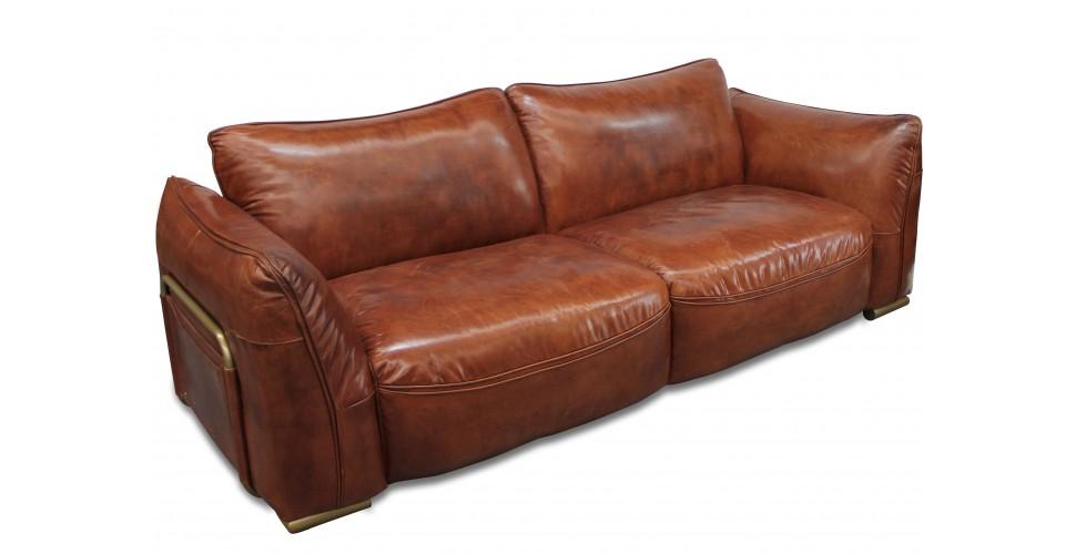 """Canapé cuir vintage brun 3 places design """"Eden"""""""