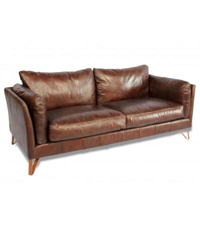 "Canapé en cuir marron style design ""Curtis"""