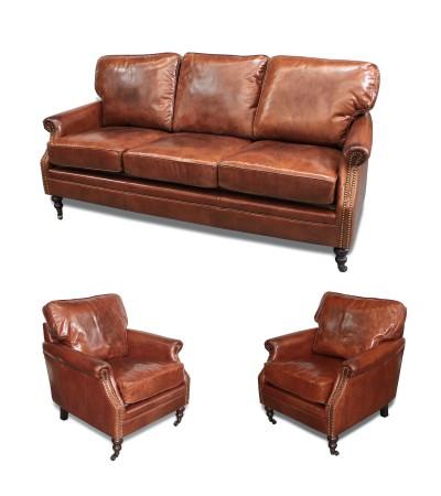 """Canapé 3 places + ses 2 fauteuils cuir marron """"Tommy"""""""