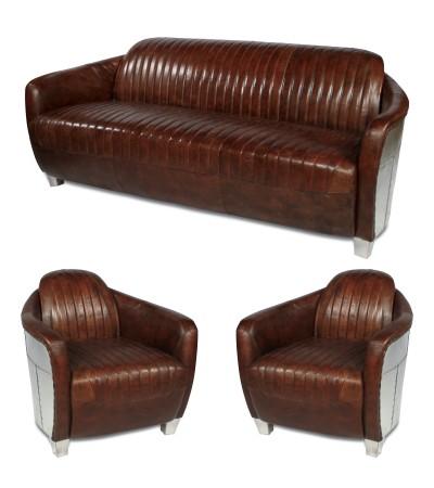 "Set 3-Sitzer Flieger Sofa + 2 Sessel ""Armstrong"""
