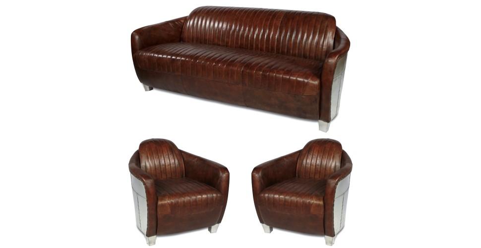 """Ensemble canapé 3 places + 2 fauteuils aviateurs """"Armstrong"""""""