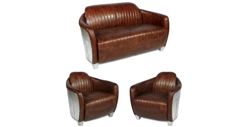 "Salon canapé aviateur et 2 fauteuils cuir brun ""Armstrong"""
