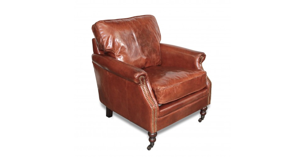 "Fauteuil Club cuir vintage marron ""Tommy"""