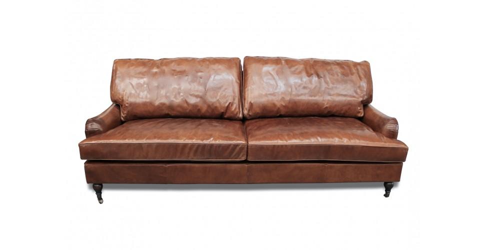 "Canapé en cuir brun cosy et classique ""Wesley"""