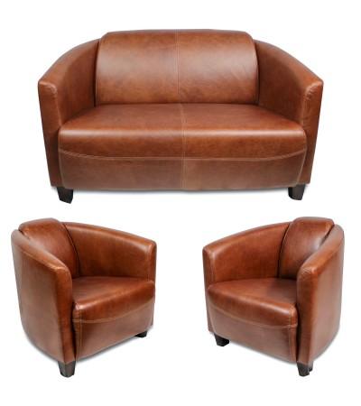 """Set aus 2-Sitzer Sofa und 2 Clubsesseln aus hellbraunem Leder """"Billy"""""""