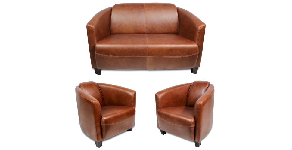 """Ensemble canapé 2 places et ses 2 fauteuils club cuir marron clair """"Billy"""""""